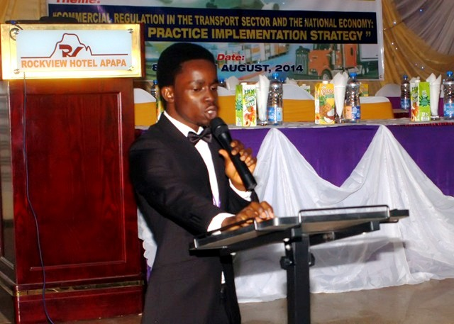 A contestant during the debate for the President's Award @ d AGM
