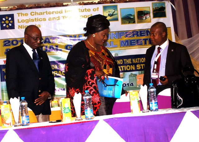 Mrs. Dabney Shall-Holma, FCILT Director, Shipping Dev, Nig Shippers' Council being welcomed to d high table