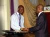 Nat'l President, Maj Gen UT Usman (Rtd), presenting d cash prize to one of d constestants