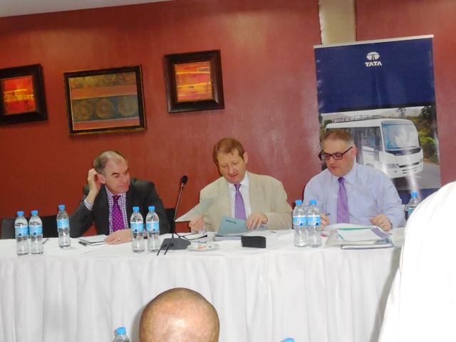 L-R- President CILT Int'l, Mr. Paul Brooks, FCILT, Sec. Gen. CILT Int'l, Mr. Keith Newton, FCILT & Mr. Jon Harris on d high table