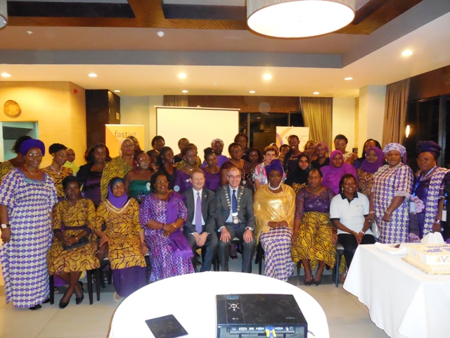 President CILT Int'l, Mr. Paul Brooks, FCILT (6th front row), Sec. Gen. CILT Int'l, Mr. Keith Newton, FCILT (5th L, front row) flanked by members of WiLAT, Tanzania