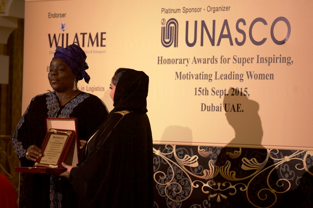 Founder & Global Convener of WiLAT, Hajia Aisha Ibrahim receiving an Award during WiLAT Dinner @ d ICM