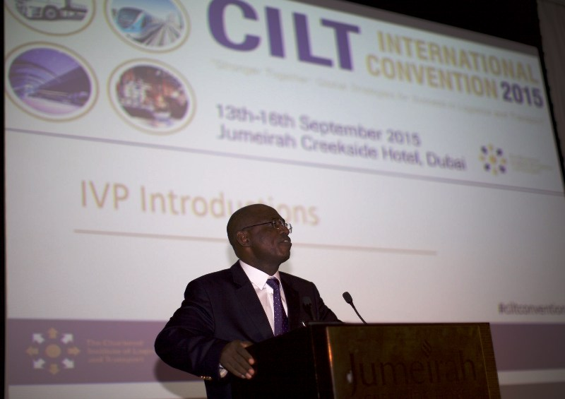 Nat'l President, CILT Nig & IVP for Africa & Chair, Africa Forum, Maj Gen UT Usman (Rtd) making his speech @ Int'l Convention
