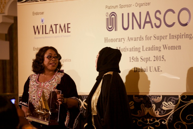 Princess (Dr.) Vicky Haastrup, Ex. Vice Chairman & CEO of ENL Consortium receiving an Award during WiLAT Dinner @ d ICM