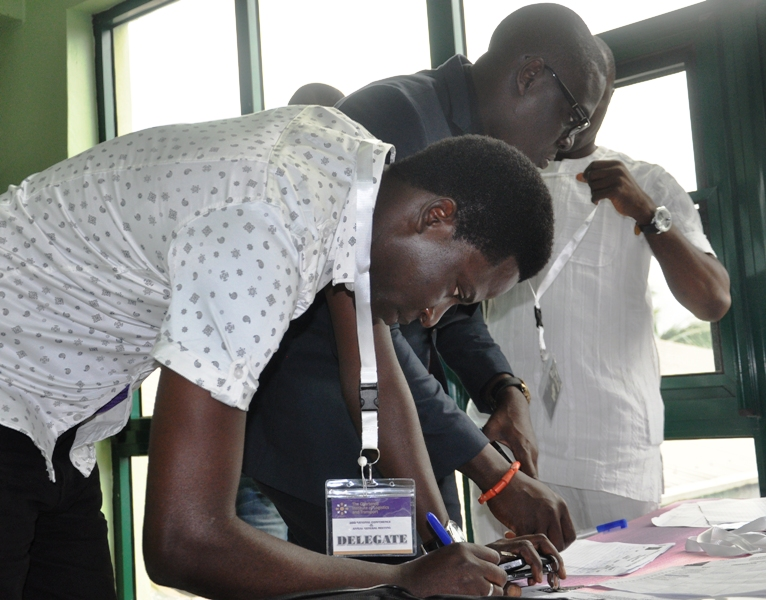 Delegates at the registration desk
