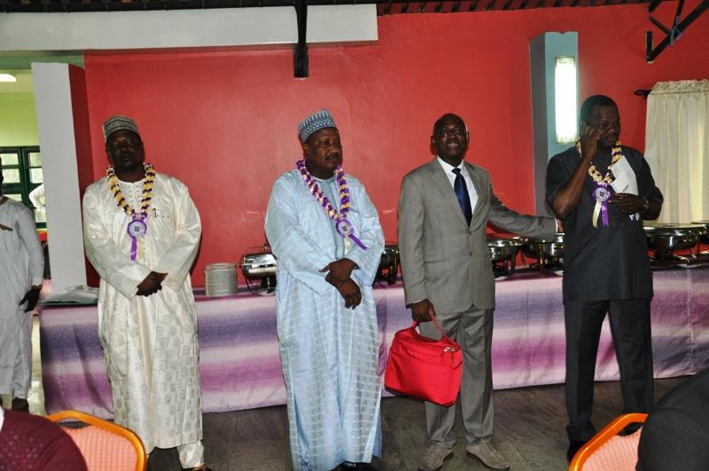 R-L- Chairman of Event, Dr. Ade Dosunmu, mon, FCILT (fmr. DG, NIMASA), Maj Gen UT Usman (Rtd), FCILT (Nat'l President, CILT, Nig), Dr. Aminu Yusuf, FCILT (DG, NITT) & Rep of MD, FAAN