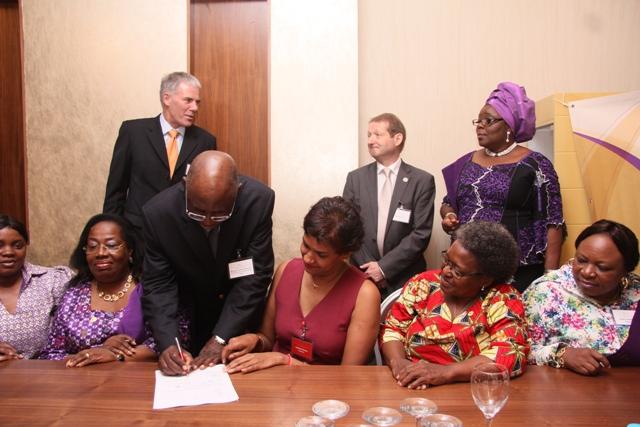 President, CILTN & IV, Africa, Maj Gen UT Usman (Rtd) signing signing the WiLAT Africa Constitution