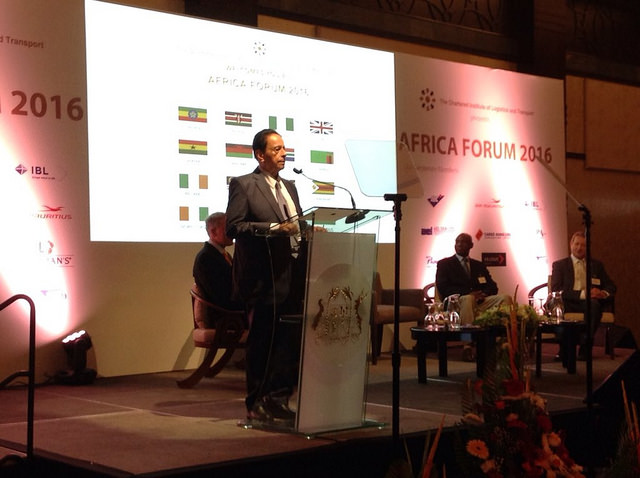 Prime Minister of the Republic of Mauritius, Sir Anerood Jugnauth addresses delegates at Africa Forum 2016