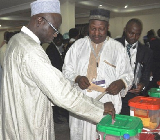 Alh. M. Yusuf, FCILT, Vice President - North (middle) & other delegates casting their votes
