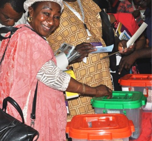 Elected Female Rep in Council, Mrs. Fatima Diko-Kuton casting her vote