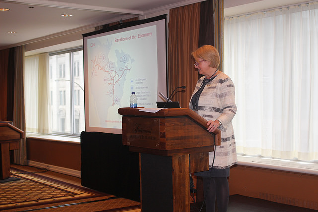 Fiona Murray, Vice-President Industrial Products, CN, delivering her presentation @ the WiLAT's Conference