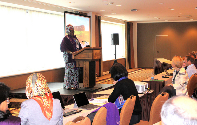 Hajia Aisha Ali Ibrahim, WiLAT Global Convenor delivering her speech