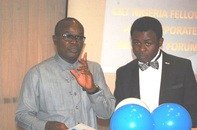 L-R- Mr. Paul Ndibe (Ag NED, CILT, Nig) & the MC during the FCMF