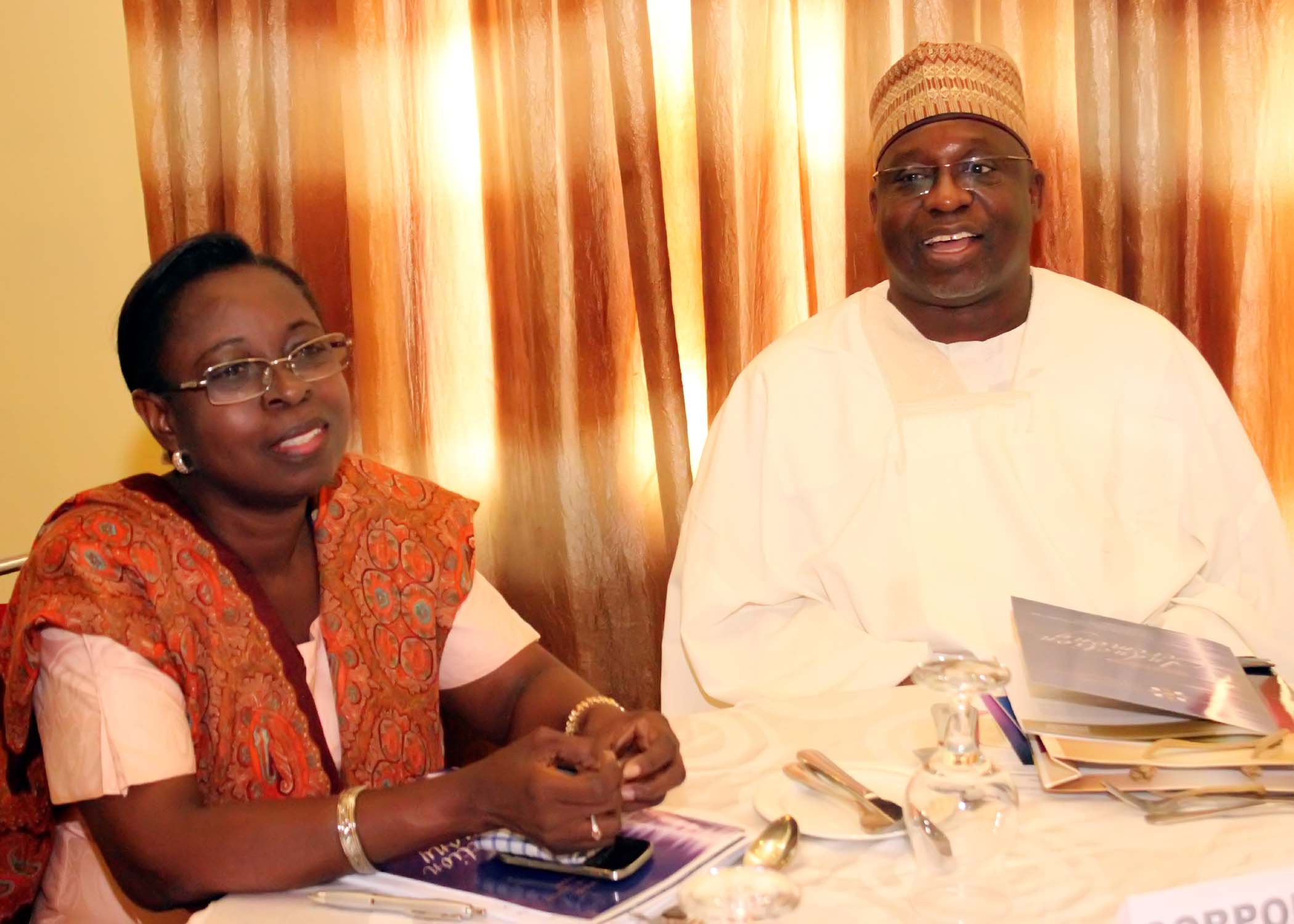 R- Miss. A. Sonaike (GM, Western Ports, NPA) with Mr. Ibrahim Jibril (VP-West, CILTN)