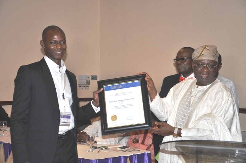 Chairman of Event, Chief Adebayo Sarumi, FCILT, OFR presenting an award to Lagos Deep Offshore Logistics Base