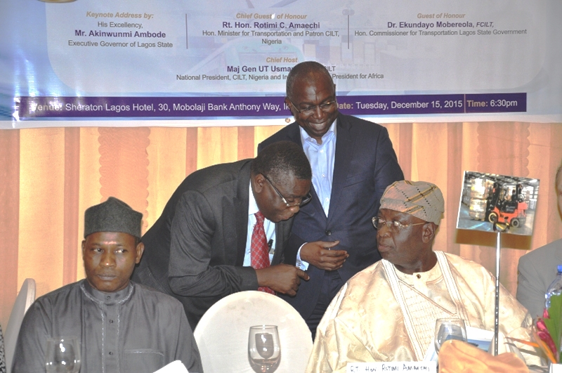 Dr. Mobereola Ekundayo, FCILT, Hon. Commissioner for Transportation, Lagos State being accomapnied to the high table by the Deputy President of CILT, Nig