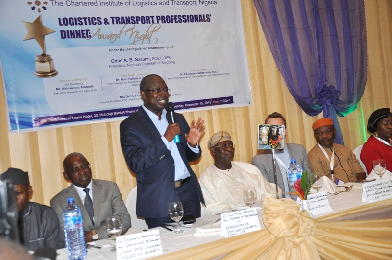 Guest of Honour, Dr. Mobereola Ekundayo, FCILT, Hon. Commissioner for Transportation, Lagos State addressing participants