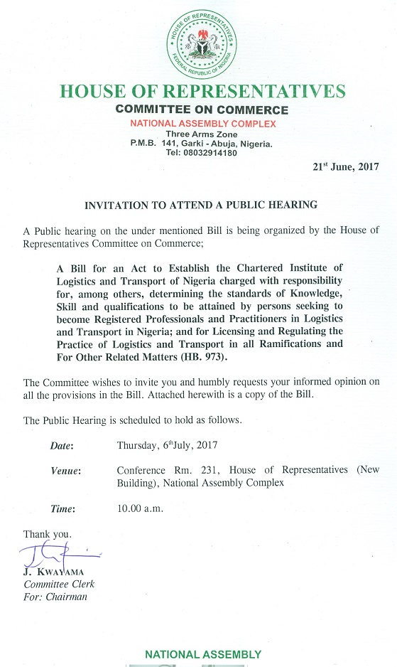 letter of invitation to nigeria format the chartered institute of logistics and transport nigeria 25709 | INVITATION LETTER TO ATTEND A PUBLIC HEARING